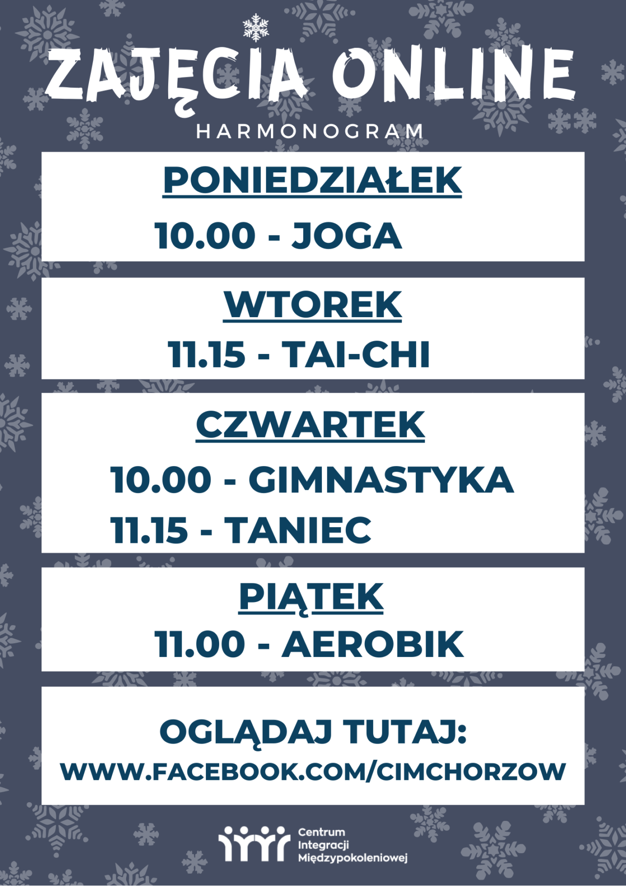 harmonogram zajęć online w Chorzowskiej Akademii Seniora
