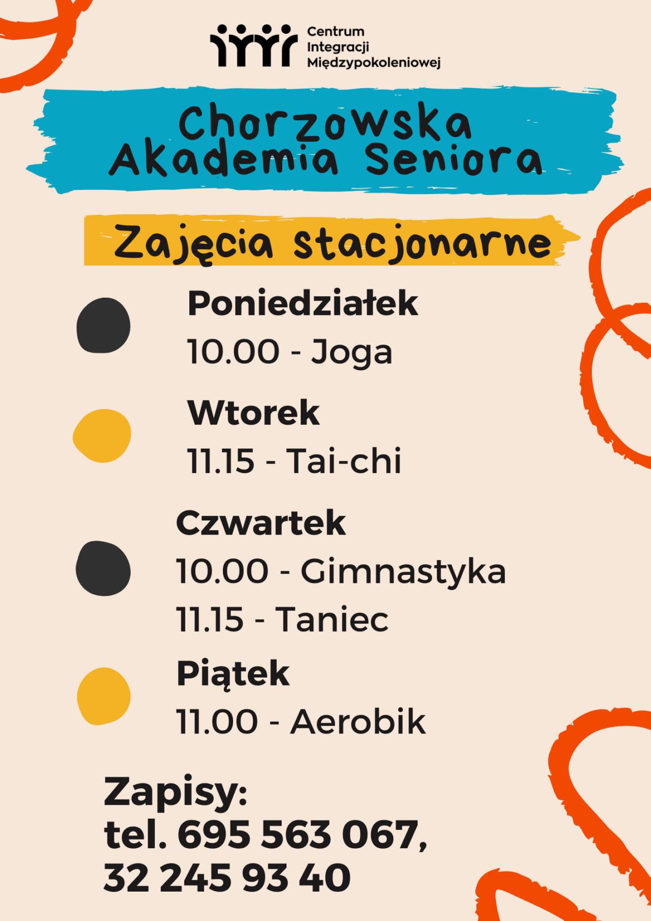 Harmonogram zajęć Chorzowskiej Akademii Seniora