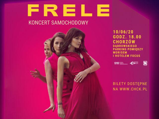 Grafika zapowiadają koncert samochodowy zespołu Frele